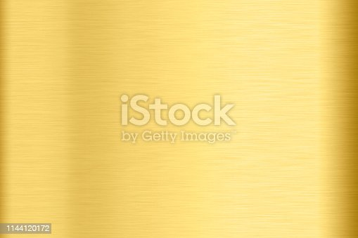 1053870408istockphoto Abstract Shiny smooth foil metal Gold color background Bright vintage Brass plate chrome element texture concept simple bronze leaf panel hard backdrop design, light polished steel banner wallpaper. 1144120172