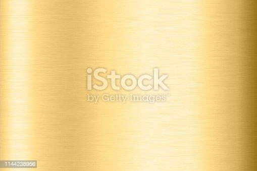 1053870408istockphoto Abstract Shiny smooth foil metal Gold color background Bright vintage Brass plate chrome element texture concept simple bronze leaf panel hard backdrop design, light polished steel banner wallpaper. 1144238956