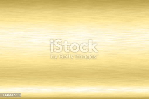 1053870408istockphoto Abstract Shiny smooth foil metal Gold color background Bright vintage Brass plate chrome element texture concept simple bronze leaf panel hard backdrop design, light polished steel banner wallpaper. 1144447713