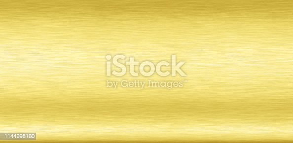 1053870408 istock photo Abstract Shiny smooth foil metal Gold color background Bright vintage Brass plate chrome element texture concept simple bronze leaf panel hard backdrop design, light polished steel banner wallpaper. 1144698160