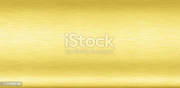 1053870408istockphoto Abstract Shiny smooth foil metal Gold color background Bright vintage Brass plate chrome element texture concept simple bronze leaf panel hard backdrop design, light polished steel banner wallpaper. 1144698160