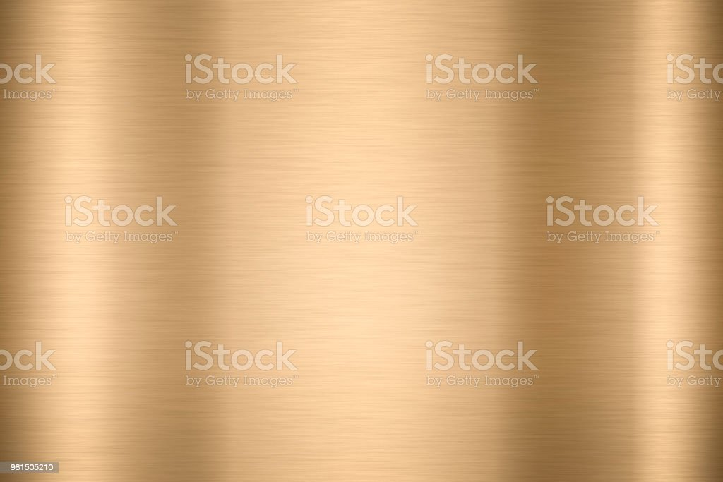 Abstract Shiny smooth foil metal Gold color background Bright vintage Brass plate chrome element texture concept simple bronze leaf panel hard backdrop design, light polished steel banner wallpaper. stock photo