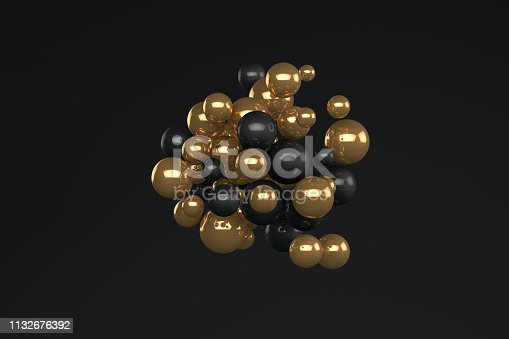 istock 3D Abstract Shiny Sphere on black color background 1132676392