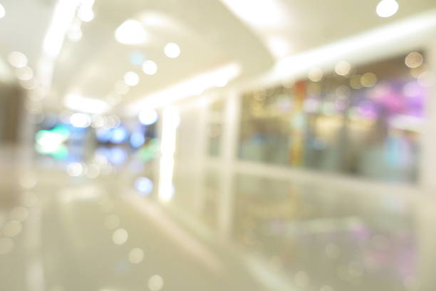 Abstract shopping plaza mall interior, modern market, blur background stock photo