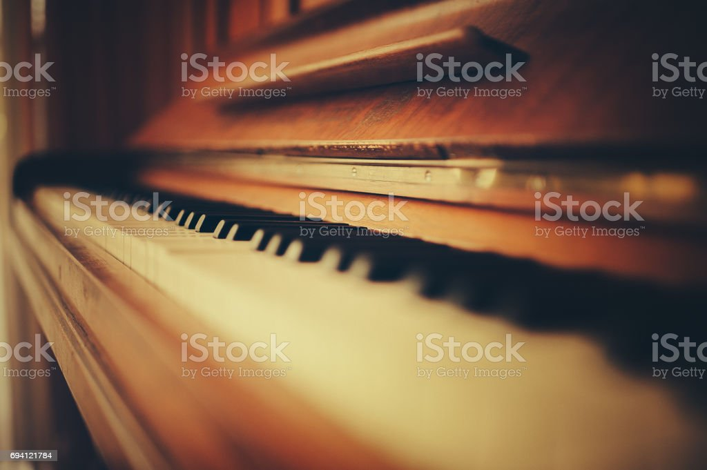 Abstract shot of an old piano stock photo