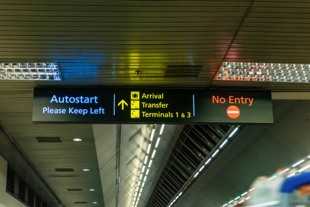 abstract sign in airport for information - can use to display or montage on product stock photo