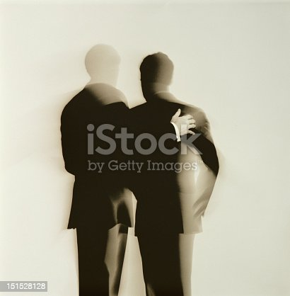 istock Abstract silhouette back view of two businessmen 151528128