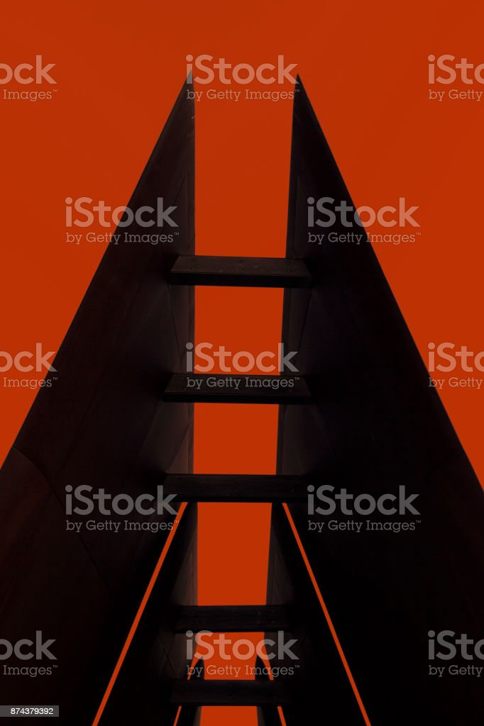 Abstract silhouette of a unique architectural roof line stock photo