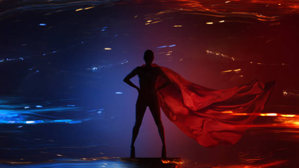 Abstract silhouette portrait of young hero woman