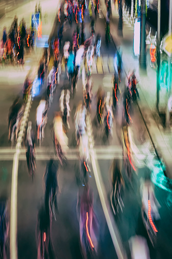 929609038 istock photo Abstract silhouettes of group colorful cyclists on city streets, abstract, motion blur, bike festival. Concept of healthy lifestyle, for background 1017778092
