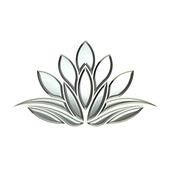 abstract silver lotus. 3d rendering illustration - lotus zeichnung stock-fotos und bilder