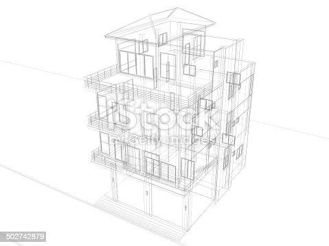 istock abstract sketch design of house ,bird eye view 502742879