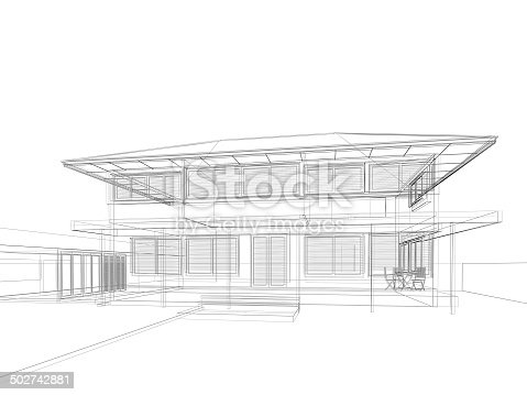 502813919 istock photo abstract sketch design of house 502742881
