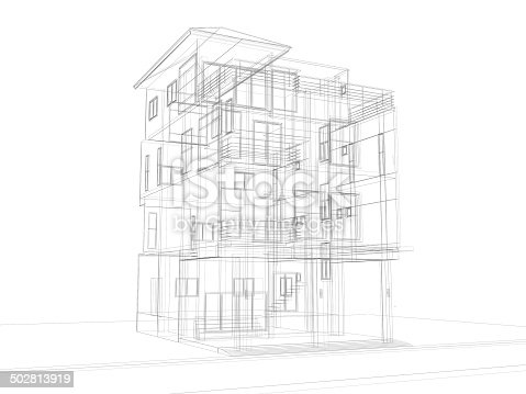 istock abstract sketch design of house 502813919