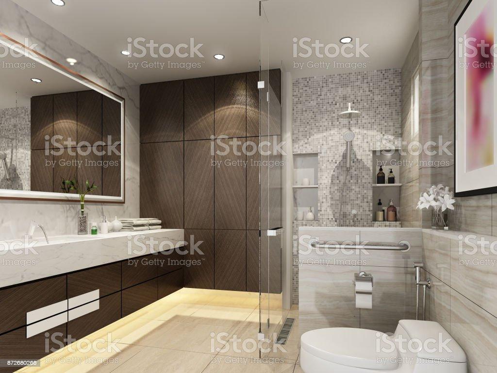 Badkamer Interieur Design : Abstracte schets ontwerp van interieur badkamer drendering