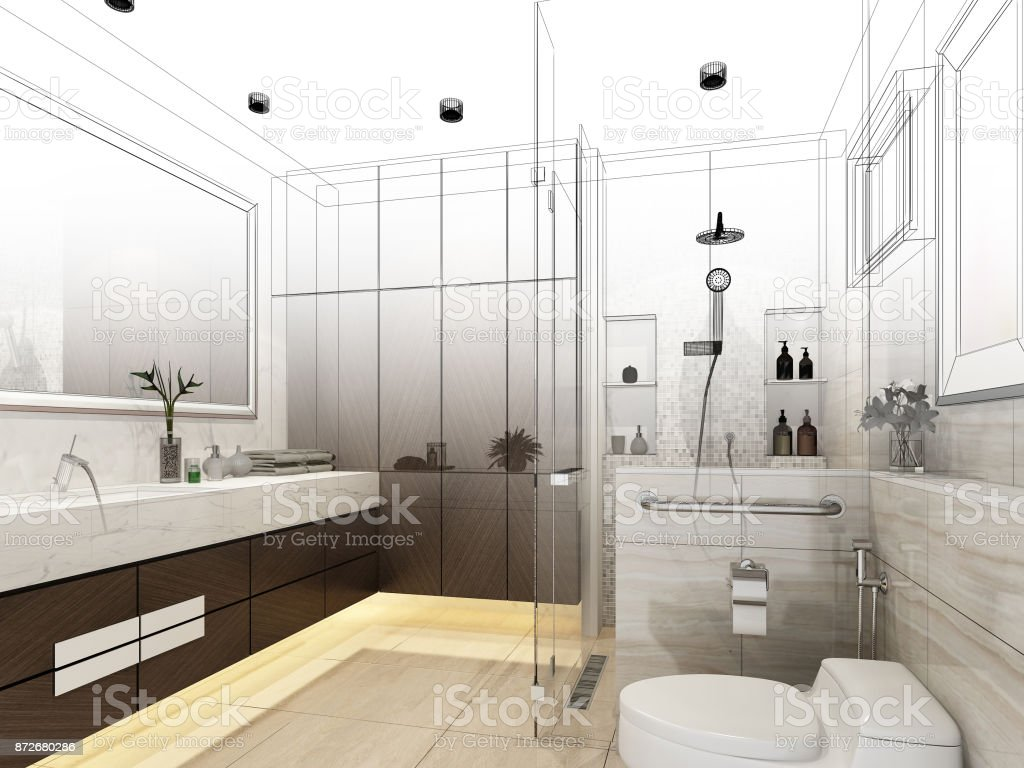 Abstract Sketch Design Of Interior Bathroom 3d Rendering Stock Photo ...