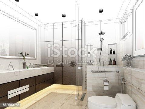 istock abstract sketch design of interior bathroom ,3d rendering 872680286