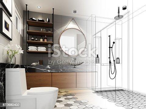 istock abstract sketch design of interior bathroom ,3d rendering 872680402