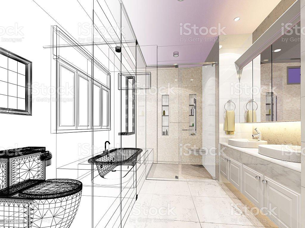 Abstrakte Skizze Design Interior Badezimmer Stock