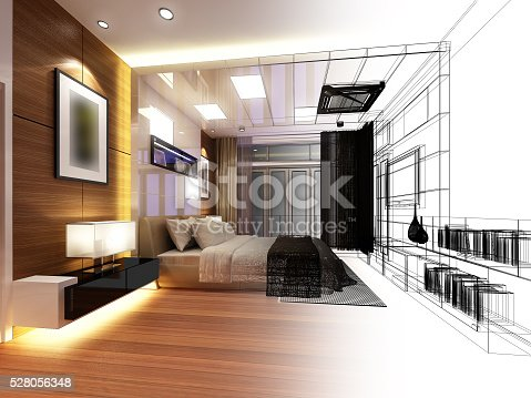 626045812 istock photo abstract sketch design of interior bedroom 528056348