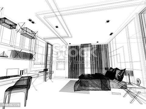 502813919 istock photo abstract sketch design of interior bedroom,3d rendering 644167276