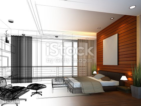 502813919 istock photo abstract sketch design of interior bedroom,3d rendering 694457334