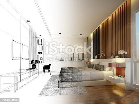 istock abstract sketch design of interior bedroom,3d rendering 854864342