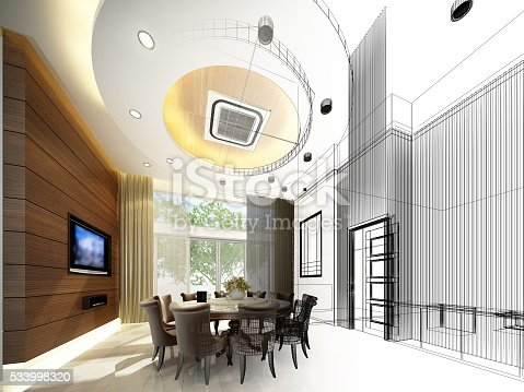 626045812 istock photo abstract sketch design of interior dining ,3d 533998320
