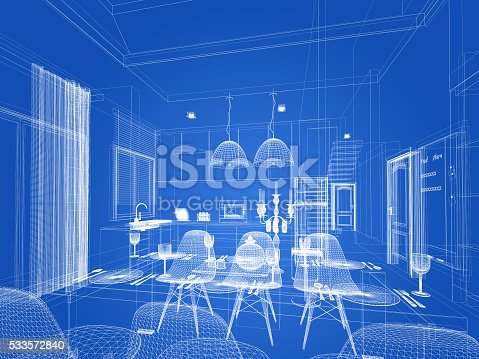 528056142 istock photo abstract sketch design of interior dining and kitchen room ,3d 533572840