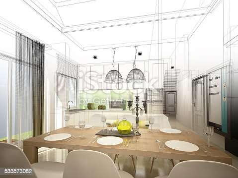 istock abstract sketch design of interior dining and kitchen room ,3d 533573082
