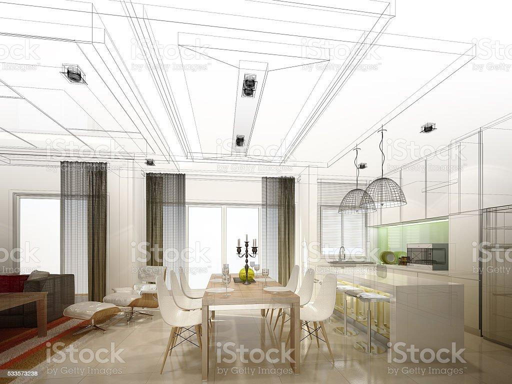 Fotografía de Abstracto Boceto Diseño De Interiores De Cocina ...