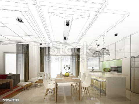 528056142 istock photo abstract sketch design of interior dining and kitchen room ,3d 533573238