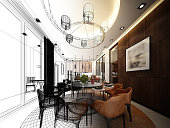 abstract sketch design of interior dining room