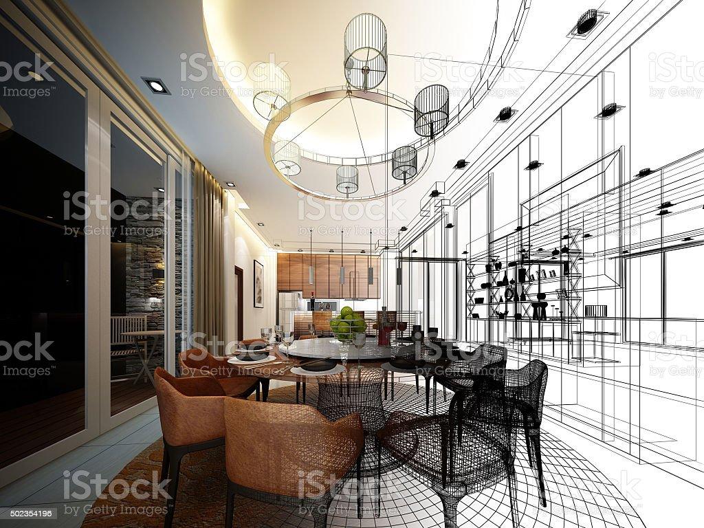 Abstract Boceto Dise O De Interiores De Comedor Stock Foto E  ~ Aplicaciones De Diseño De Interiores