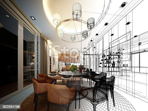 istock abstract sketch design of interior dining room 502354196