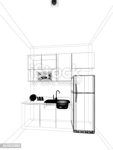 528056142 istock photo abstract sketch design of interior kitchen ,3d rendering 544803992