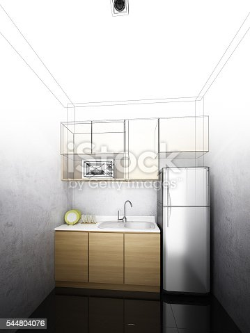 528056142 istock photo abstract sketch design of interior kitchen ,3d rendering 544804076
