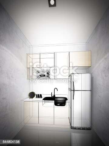 528056142 istock photo abstract sketch design of interior kitchen ,3d rendering 544804138