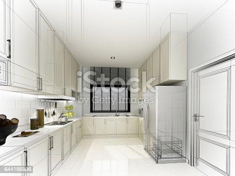 istock abstract sketch design of interior kitchen ,3d rendering 644166936