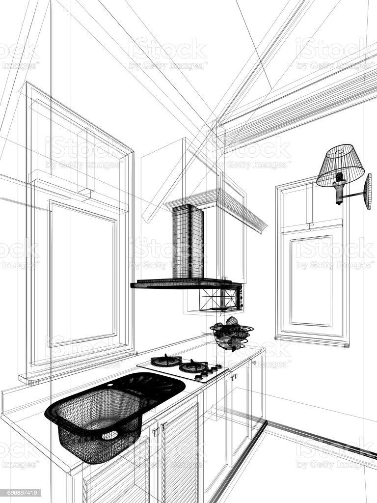 Fotografía de Dibujo Abstracto Diseño De Interior Cocina Render 3d y ...
