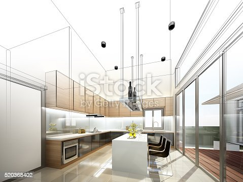 istock abstract sketch design of interior kitchen 520368402