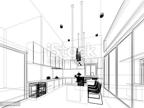 528056142 istock photo abstract sketch design of interior kitchen 520368422