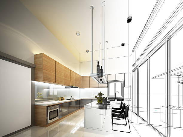 schizzo astratto disegno interno della cucina - disegnare foto e immagini stock