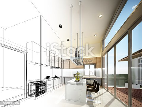 626045812 istock photo abstract sketch design of interior kitchen 533998680