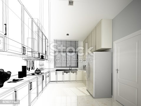 528056142 istock photo abstract sketch design of interior kitchen 626011902