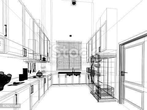528056142 istock photo abstract sketch design of interior kitchen 626011988
