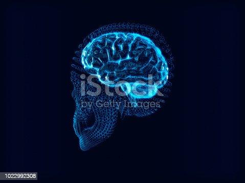 183306794 istock photo Abstract Skull,skull with brain inside.3d rendering 1022992308