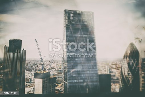 Abstract skyline with the landmark corporate buildings of the City of London at day