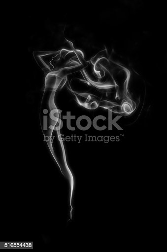 Abstract smoke beautiful woman isolated on black background