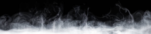 Abstract smoke move on black background stock photo